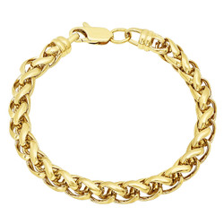 7.5mm 14k Yellow Gold Plated Braided Wheat Chain Bracelet