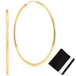 2mm Gold Plated Continuous Endless Hoop Earrings