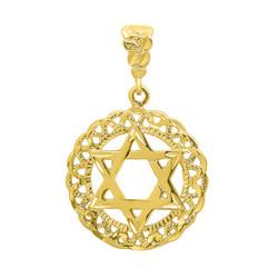 Round 34mm 14k Gold Plated Diamond-Cut Star Of David Medallion Pendant + Microfiber