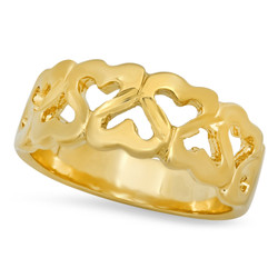 Gold Plated Connecting Inverted Open Hearts Pattern Ring + Microfiber