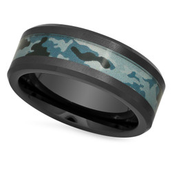 Black Ceramic 8mm Comfort Fit Ring with Camouflage Design Inlay + Microfiber
