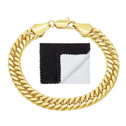 8.5mm High-Polished 0.25 mils (6 microns) 14k Yellow Gold Plated Flat Beveled Curb Chain Bracelet, 7 inches