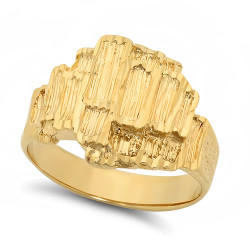 Large 19mm 14k Gold Plated Layered Striated-Style Chunky Nugget Ring + Microfiber