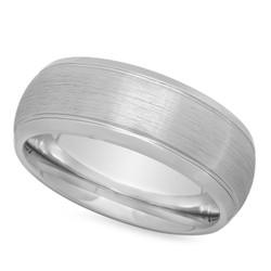Polished Cobalt 8mm Comfort Fit Wedding Ring w/Brushed Center + Microfiber