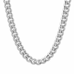 9mm Rhodium Plated Flat Cuban Link Curb Chain Necklace