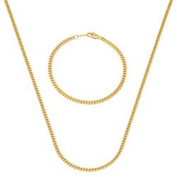 3mm 14k Gold Plated Cuban Chain Necklace + Bracelet Set, 16'18'20'22'24'30'36' (Necklace) + 7'8'9' (Bracelet)