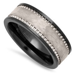 Black Ceramic 8mm Comfort Fit Ring w/Hammered Tungsten Carbide Inlay + Microfiber