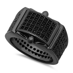 Black Plated Micro-Pave Iced Out Cubic Zirconia Band Ring + Microfiber