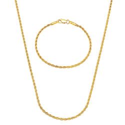 2.4mm 14k Yellow Gold Plated Twisted Rope Chain Necklace + Bracelet Set