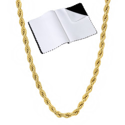 2.8mm Polished 14k Yellow Gold Plated Twisted Rope Chain Necklace