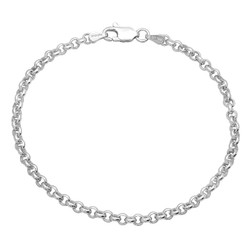 3.2mm Solid .925 Sterling Silver Round Rolo Chain Bracelet