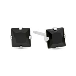 Square Cut Simulated Black Onyx CZ Sterling Silver Italian Crafted Stud Earrings + Bonus Polishing Cloth