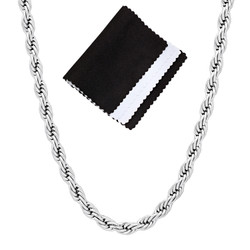 4mm High-Polished Stainless Steel Round Rope Chain Necklace