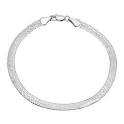 4.5mm Rhodium Plated Flat Herringbone Chain Bracelet