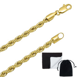 4mm Polished 14k Yellow Gold Plated Twisted Rope Chain Necklace