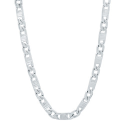 4mm Rhodium Plated Flat Mariner Chain Necklace