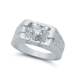 Rhodium Plated Clear Brilliant Cut CZ Floating Solitaire Ring + Microfiber