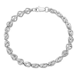 7mm Textured 0.25 mils (6 microns) Rhodium Plated Heart Link Heart Chain Link Bracelet