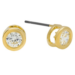 6mm Round Bezel Set Cubic Zirconia Gold Plated Stud Earrings + Microfiber