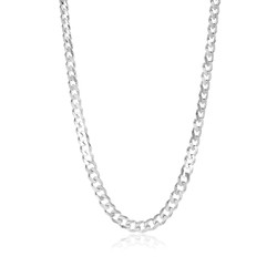 Men's 7.5mm Solid .925 Sterling Silver Beveled Curb Chain Necklace