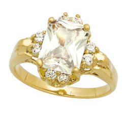 Gold Plated Clear Emerald-Cut CZ Solitaire Ring w/CZ Accents + Microfiber
