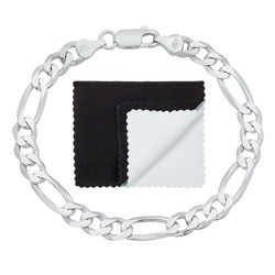 7mm High-Polished .925 Sterling Silver (Nickel Free) Flat Mariner Chain Bracelet, 7'-10 + Jewelry Cloth & Pouch