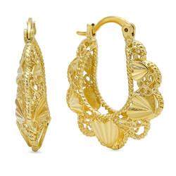14k Gold Plated Filigree Hoop Earrings w/ Hearts Design, 1' x 0.9' + Microfiber Cloth