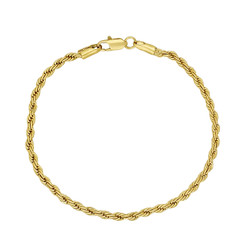 2.8mm 14k Yellow Gold Plated Twisted Rope Chain Bracelet