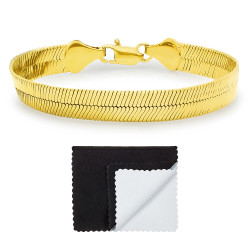 10.8mm 0.25 mils (6 microns) 14k Yellow Gold Plated Herringbone Chain Bracelet, 7'-9 + Jewelry Cloth & Pouch