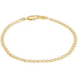 2.7mm 0.25 mils (6 microns) 24k Yellow Gold Plated Mariner Chain Necklace, 7'-30 + Jewelry Cloth & Pouch