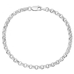 4mm Solid .925 Sterling Silver Round Rolo Chain Bracelet