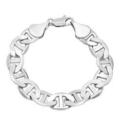 12mm Rhodium Plated Flat Mariner Chain Bracelet