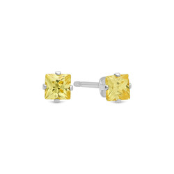 Princess Cut Simulated Citrine Yellow CZ Sterling Silver Italian Crafted Stud Earrings + Polishing Cloth