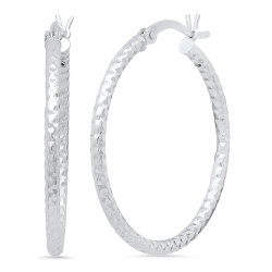 Women's High-Polished .925 Sterling Silver (Nickel Free) Round Hoop Earrings + Jewelry Cloth & Pouch