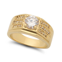 Classic Square 14k Yellow Gold Plated Cubic Zirconia Micro Pave Accent Ring