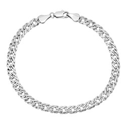 5mm High-Polished 0.25 mils (6 microns) Rhodium Plated Brass Flat Venetian Chain Bracelet, 7'-9 + Jewelry Cloth & Pouch