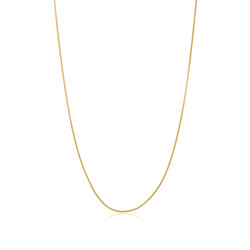 1.3mm 0.16 mils (4 microns) 24k Yellow Gold Plated Stainless Steel Square Box Chain, 16'-30 + Jewelry Cloth & Pouch