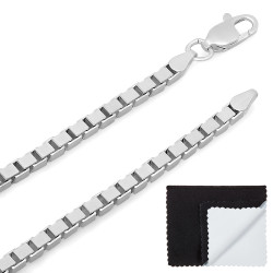 2.7mm Solid .925 Sterling Silver Square Box Chain Necklace