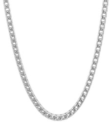 3.7mm Polished Rhodium Plated Silver Square Franco Chain Necklace