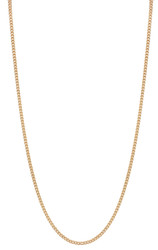 1.6mm 24k Yellow Gold Plated Flat Cuban Link Curb Chain Necklace