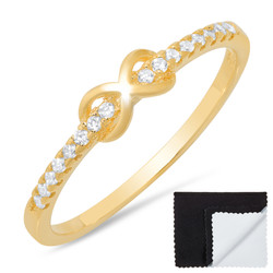 925 Sterling Silver Gold Plated Infinity Knot Cubic Zirconia Promise Ring + Bonus Cleaning Cloth