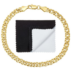 5mm 0.25 mils (6 microns) 14k Yellow Gold Plated Venetian Chain Bracelet, 7'-9 + Jewelry Cloth & Pouch