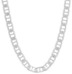 Men's 5.5mm Diamond-Cut Silver Flat Mariner Chain Necklace, 7'-30 + Jewelry Cloth & Pouch
