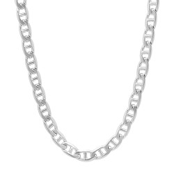 5mm Rhodium Plated Flat Mariner Chain Necklace