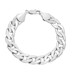 11.5mm Rhodium Plated Flat Beveled Curb Curb Chain Link Bracelet