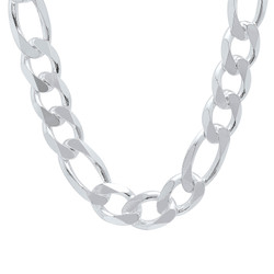 15.5mm High-Polished .925 Sterling Silver Flat Figaro Chain Necklace, 8'-30 + Jewelry Cloth & Pouch