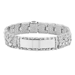 Large 15mm Rhodium Plated Thick Nugget Textured ID Link Bracelet + Microfiber