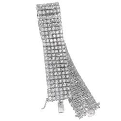 8.5 Inch 6-Row Rhodium Plated Iced Out Hip Hop Bracelet with White Cubic Zirconia CZs + Bonus Polishing Cloth
