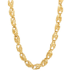 7mm Textured 14k Yellow Gold Plated Heart Link Chain Necklace