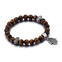 8.5mm High-Polished Stainless Steel Brown Tiger-Eye Ball Military Charm Bracelet, 10 inches